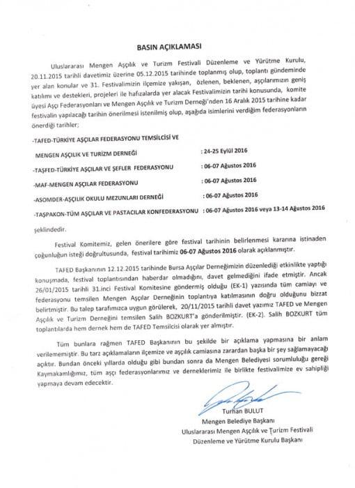 Mengen Belediye Başkanlığı Basın Açıklaması