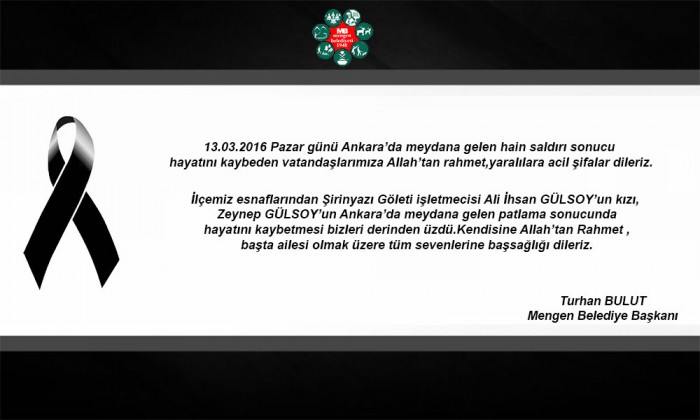 Belediye Başkanı Turhan Bulut'un Başsağlığı Mesajı