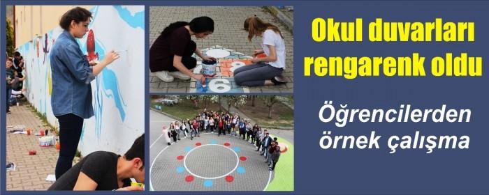 Pazarköy'de Okul bahçesi rengarenk oldu