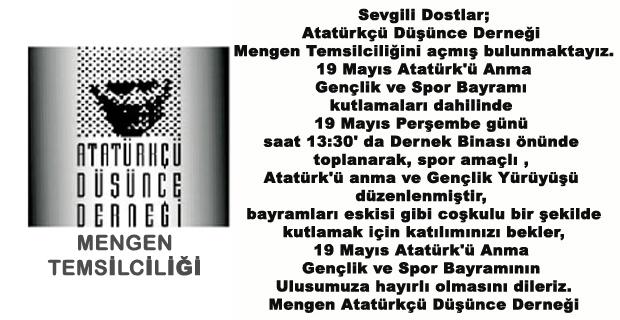 ADD Mengen Temsilciliğinden Atatürk'ü anma ve Gençlik Yürüyüşüne davet