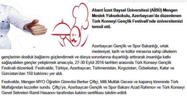 Mengen Türk Lezzetlerini Azerbaycan'a taşıdı