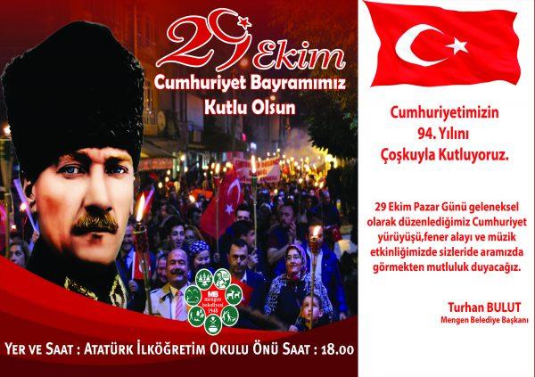 Cumhuriyetimizin 94. Yılını Coşkuyla Kutluyoruz