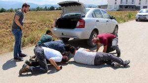 Otomobile giren yılanın çıkması için son çare süt bırakıldı